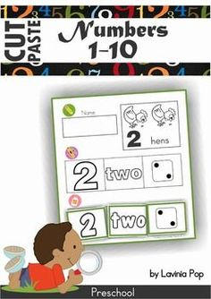 Numbers Cut & Paste (1-10) FREE. Great activity for preschool to teach number recognition, matching and develop fine motor control as they work on cutting skills too!