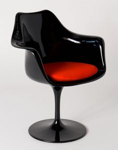 Replica Eero Saarinen Tulip Armchair - Black Plastic - choice of cushion colour Orange Cushions, Black Cushions, Tulip Chair, Eero Saarinen, Dining Arm Chair, Egg Chair, Fabric Covered, Tulips, Armchair