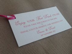 75 x Handmade Personalised Drink Favour Token Voucher Ticket Wedding with ribbon | eBay