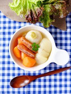 【圧力鍋】コンソメ不使用☆塩ポトフ!|ウインナー・人参・玉ねぎ・にんにく・好きな野菜