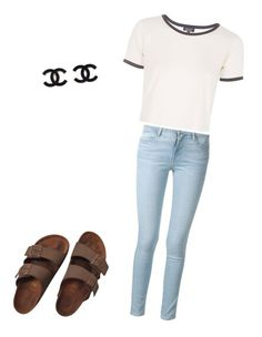 """A nice casual"" by missemilyallen ❤ liked on Polyvore featuring Birkenstock, Frame Denim and Topshop"