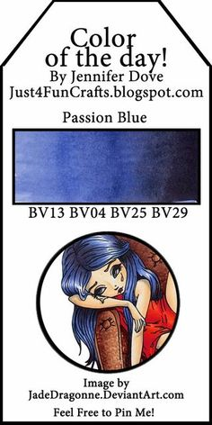 Copic Color of the Day 134 Passion Blue and DoveArt Studios Copic Marker Art, Copic Pens, Copic Sketch Markers, Copic Art, Copics, Prismacolor, Copic Color Chart, Copic Colors, Color Charts