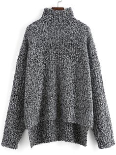 Grey High Neck Dip Hem Loose Sweater -  from shein.com