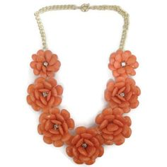 Coral Blossom Necklace, Rose Necklace, Peach Necklace, Coral Flower Necklace, Coral Bib Necklace, J.Crew Inspired, Anthropologie Rosette