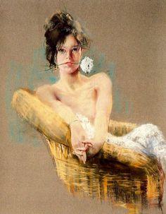 Art painting romantic sensual byCayetano of Arquer Buigas.  Rose white