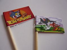20 Cupcake Flags/Toppers - Tom And Jerry Childrens Birthday Party Third Birthday, 4th Birthday Parties, Birthday Party Decorations, Boy Birthday, Birthday Ideas, Birthday Stuff, Cupcake Flags, Cake Table Decorations, Tom And Jerry