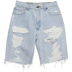 The Destroyed Boy Short (109.310 CLP) ❤ liked on Polyvore featuring shorts, bottoms, distressed denim shorts, boy shorts, vintage shorts, destroyed shorts and knee high shorts