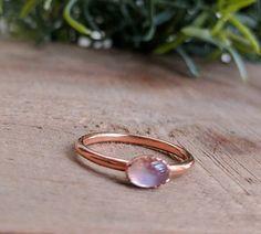 Rainbow Moonstone Ring Moonstone and Copper Ring Bezel Set