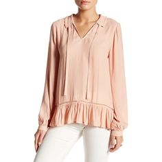 Ro & De Long Sleeve Ruffle Neck Blouse ($35) ❤ liked on Polyvore featuring tops, blouses, canyon sunset, sheer sleeve blouse, ruffle sleeve blouse, ruffle blouses, ruffle neck blouse and long sleeve tops