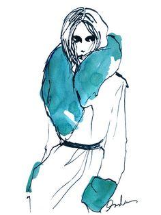 Fashion Sketch - fur trim coat drawing; stylish fashion illustration // Inslee Haynes