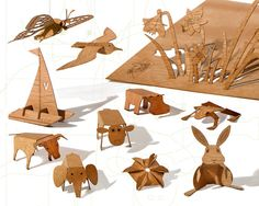 Laser-cut light wood postcards can be turned into little 3D objects. By formesberlin on Etsy, €39.90