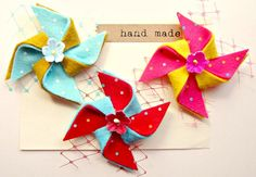 Summer hair Clips  Pinwheel clips with vintage by giddyupandgrow