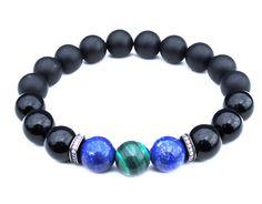 """AA"" BOYBEADS ""Asher"" Natural Lapis Lazuli Malachite Onyx Sterling Silver Bead Bracelet for Men - BOYBEADS"