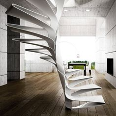Italian studio Disguincio & Co has produced a concept for a spiral staircase with steps made from folds of fibreglass. Emilie Chalcraft