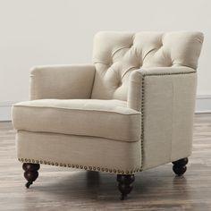 Felicity Beige Linen Chair. Nailhead TrimLiving Room ...