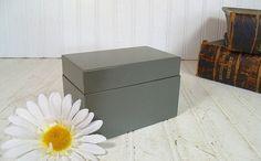 Vintage Charcoal Grey Metal File Box  Retro CWS by DivineOrders