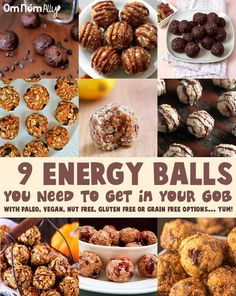 9 Energy Balls To Get In Your Gob @OmNomAlly with Paleo, Vegan, Nut Free, Gluten Free and Grain Free options... YUM!