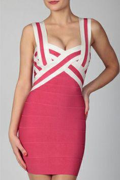 Contrast Strap Bandage Dress Pink http://www.wholesalebandagedress.com/contrast-strap-bandage-dress-pink-p-392.html#.UqLT_NJhBLQ