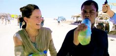 Daisy Ridley and John Boyega #Behind The Scenes GIF of Force Awakens