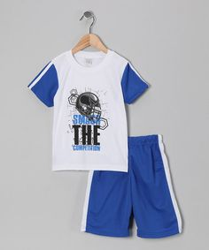 Take a look at this White & Blue 'Smash' Football Tee & Shorts - Boys by S.W.A.K. on #zulily today!