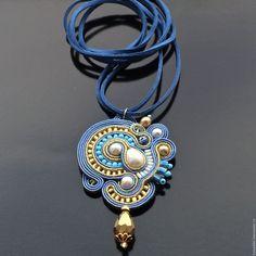 Купить НЕБО ХОН ТАМА - сутажный кулон - голубой, море, украшение на шею, кулон на шнуре