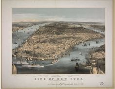 An 1858 panorama of New York City showing factory smoke at the margins of Manhattan before the Metropolitan Board of Health imposed restrictions. (C. Parsons/Library of Congress) - CityLab