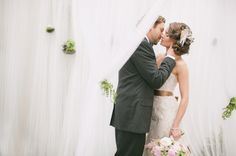 tulle ceremony altar with hanging ferns, www.jodimillerphotography.com    i would love succulents instead of ferns