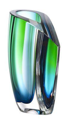 Orrefors GC   Mirage vase green/blue, design by Göran Wärff for Kosta Boda More