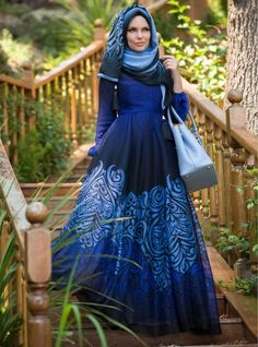 Patterned Dress - Blue - Muslima Wear