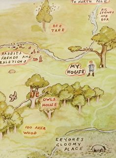 Winnie the Pooh's Map to Christopher Robins House, Vintage and Classic Map, Kids Wall Art (1 in a Series of 10). $10.00, via Etsy.
