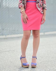 59% of women use bold colors to make a bold statement. #tjmaxx #maxxexpression Can't go wrong with wedges and a skirt!