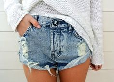 what the hell are these? looks like a denim diaper to me.. if it's THAT hot outside that you need your ass cheeks to hang out the back of your shorts, you shouldn't be wearing that sweater either.