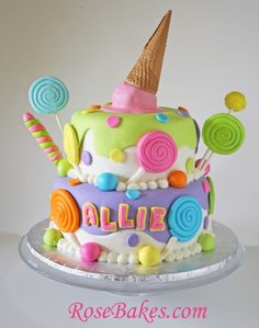 Lollipops & Ice Cream Candyland Cake! Click over for lots of pics and details!!