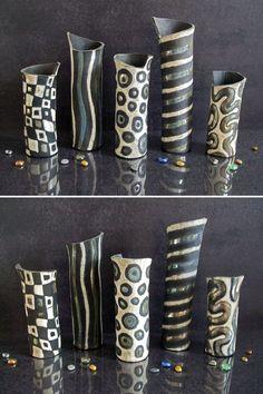 Raku black and white vases, ceramic vases set, sea anemone vase, pottery…