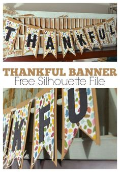 Making a pretty, paper banner is an easy, quick, and inexpensive way to add a bit of fun Fall flair to your home. Free Silhouette Cut file. | createandbabble.com