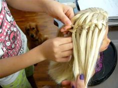 Tutorial: How to do a waterfall Braid (not twisted). little girl does it really well!