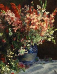 Pierre-Auguste Renoir (French 1841–1919) [Impressionism] Gladiolas in a Vase, 1874-1875. Private Collection.