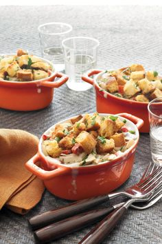 Buttery cubes of sourdough rolls make a quick and crunchy topping for this speedy twist on chicken pot pie.Recipe:Chicken Cobbler Casserole