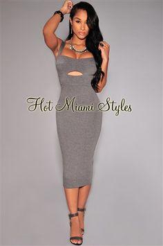 Gray Peep-Hole Padded Midi Dress. Gray Peep-Hole Padded Midi Dress Womens  clothing clothes hot miami styles hotmiamistyles hotmiamistyles.com sexy  club wear ... fae5857f5