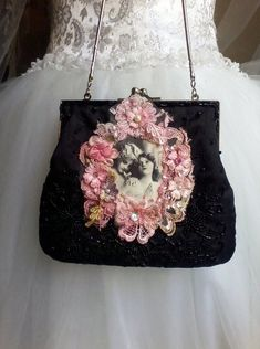 5b5beb27b22c51 image 0 Vintage Bag, Satin Flowers, Little Bag, Black Silk, Evening Bags