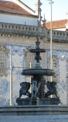 Chafariz dos Leões, Porto - lion's fountain #Portugal Porto Portugal, Spain And Portugal, Portugal Travel, Portuguese Culture, Portuguese Tiles, Camino Portuguese, Porto City, Douro Valley, Fountain Of Youth