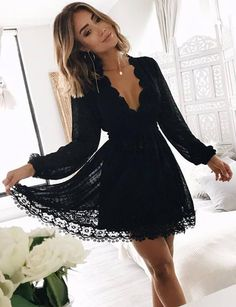 A-Line Deep V-Neck Long Sleeves Little Black Lace Homecoming Dress
