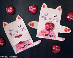 White Cat Valentine Classroom Candy Hugger valentines cute girly kitten individual candy valentine card Valentine's day chocolate holders