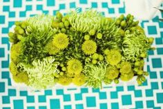 """A graphic print table runner can give a tablescape a modern edge. Try a bold print like this one from JoAnn for an easy DIY element that really packs a punch. Image: Style Me Pretty"" Green Centerpieces, Wedding Centerpieces, Centerpiece Ideas, Floral Wedding, Wedding Colors, Wedding Flowers, Green Wedding, Wedding Designs, Wedding Styles"