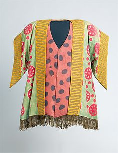 Léon Bakst (designer), Costume for a Jew c.1909-20s jacket: cotton, paint, metallic fringe and braid; waistcoat: silk, cotton lining, paint, metallic fringe. Not signed, not dated  Purchased 1973. National Gallery of Australia, Canberra  NGA 1973.270.6.A-B