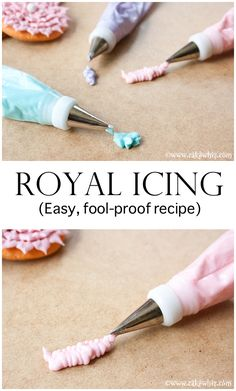 icing frosting ROYAL ICING RECIPE - Quick, easy, simple, all the tips and tricks on how to make it.how to to store it.how to color it.how to use it for cookie decorating. Icing Frosting, Frosting Recipes, Royal Icing Cookies, Cupcake Cookies, Sugar Cookies, Sugar Cookie Icing, Butter Icing, Baking Cookies, Iced Cookies