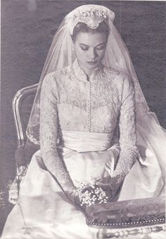 Grace Kelly at her religious wedding ceremony at St. Nicholas Cathedral on April 19, 1956.