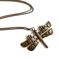 Steampunk Dragonfly necklace Victorian goth gothic Mechanical Dragonfly brass