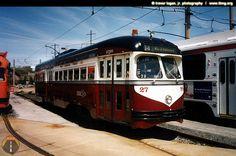 (SEPTA) 1948 St. Louis Car PCC Streetcar #2799, via Flickr. Philadelphia History, Rail Train, Light Rail, Red Arrow, Buses, St Louis, Logan, Crowd, Trains