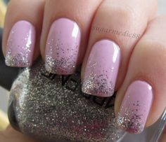 light pink with glitter gradient tips